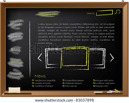 Website template design on blackboard drawn with chalk - stock vector