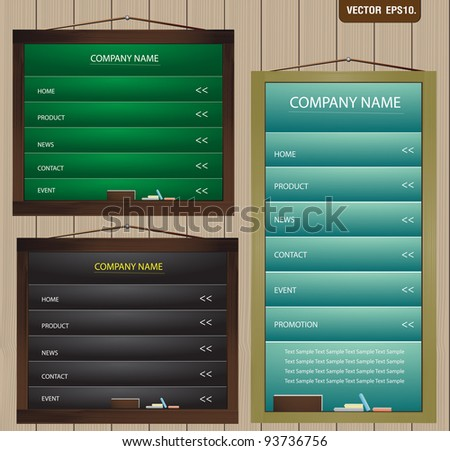 Website template design on chalkboard on wooden wall. Vector template