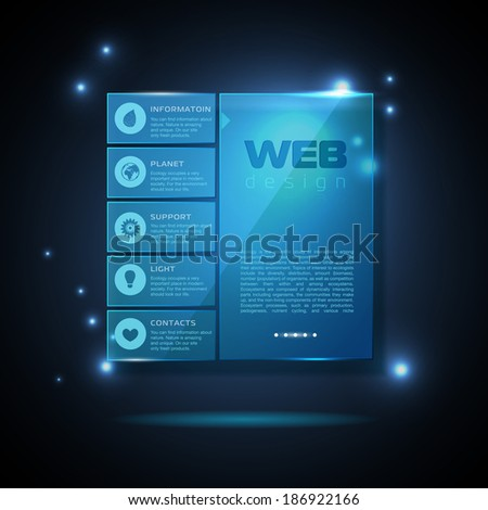 Website template design. Technology background - stock vector