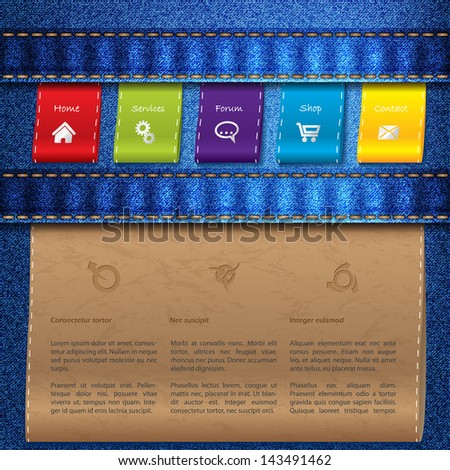 Website template design with blue jeans and color tags - stock vector