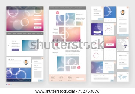 Website Template Design Interface Elements Low Stock Vector ...