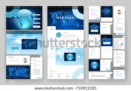 Website Template Design Interface Elements Global Stock Vector ...