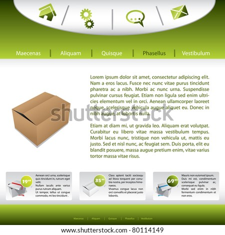 Website template design with product presentation