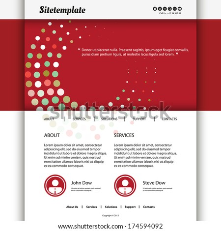Website Template Design with Red Dotted Header - stock vector