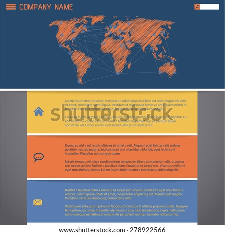 Website template design with scribbled world map and worldwide connections - stock vector
