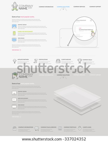 Website template elements: Set of two homepage templates for personal or company business portfolio with concept icons. - stock vector