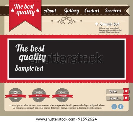 Website template elements, vintage style - stock vector