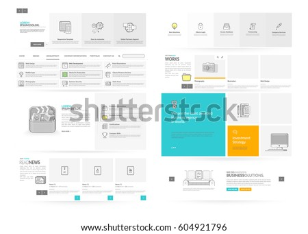 Website template elements with concept icons. Collection of various elements for web page navigation.