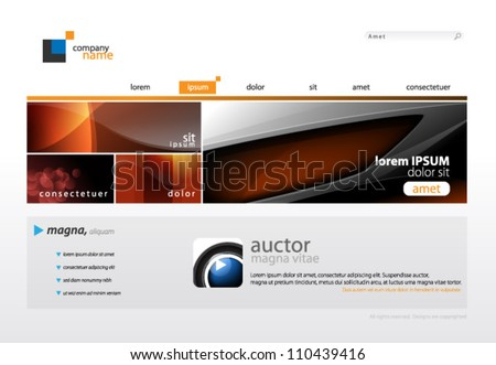 Website Template - eps10 Vector Design - stock vector
