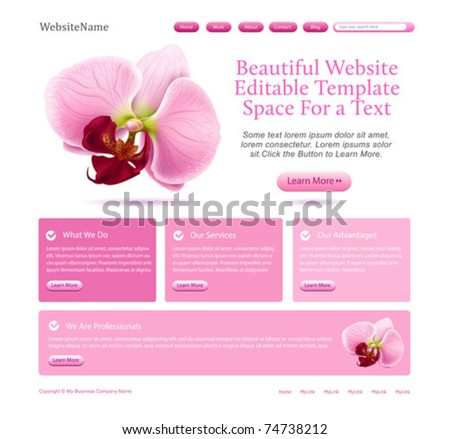 website template for beauties - stock vector