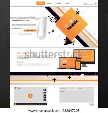 Website Template Business Presentation Abstract Design Stock Vector ...