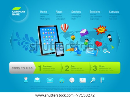Website template for business promo, product, service, internet, new multiuse device etc. Touch pad & smartphone with flying objects and signs from'em. Editable. - stock vector