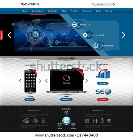 Website Template Product Presentation Contains Textured Stock Vector ...