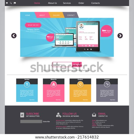 website template for smart phone company  - stock vector