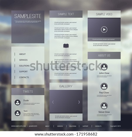 Website Template for Your Business, Blog - stock vector