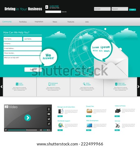 website template for your business. Vector Eps 10  - stock vector