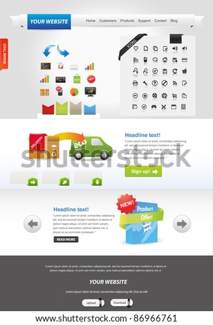 Website template + icon sets - stock vector