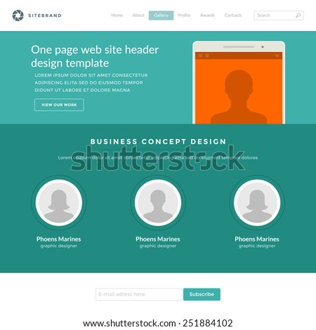 Website Template Landing One Page Header Flat Design and Icons. 960 grid system vector illustration. - stock vector