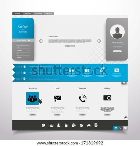 Website Template Minimal theme - stock vector