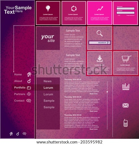 Website template purple pink design - stock vector
