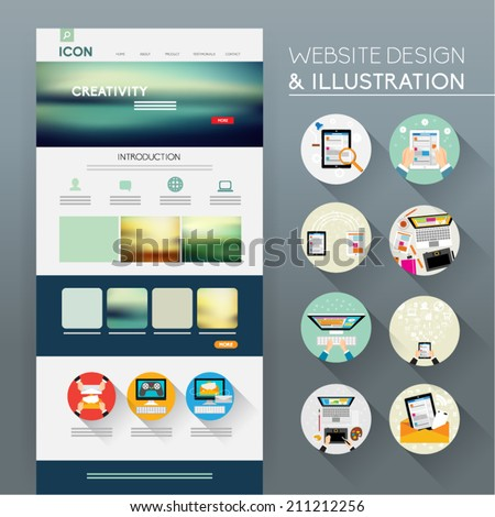 Website Template Vector Design - stock vector