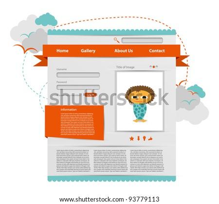 Website template, 100% vector elements - stock vector