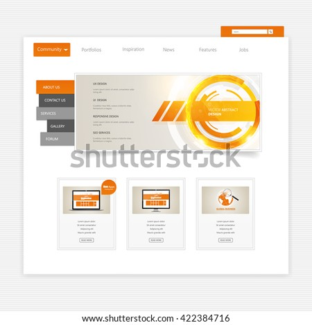 Website Template Vector Eps10, Modern Web Design with UI elements. Ideal for Business layout - stock vector
