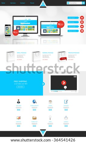One Page Business Website Template Home Stock Vector 231882766 ...