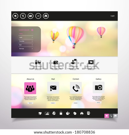 Website Template Vector /with hot air balloon in the vintage bokeh sky illustration/ - stock vector