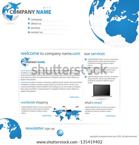Website Template. Website Template is Full Vector Illustration. Good for used for Business, Transportation and Technology Concept, Vector EPS 10. Files include : EPS file.