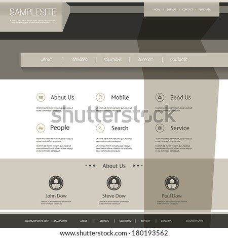 Website Template with Abstract Design - stock vector