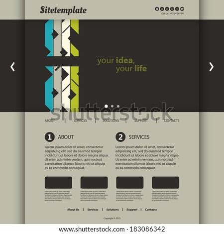 Website Template with Abstract Header Design - stock vector