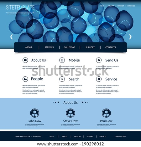 Website Template with Abstract Header Design - Circles and Rings - stock vector