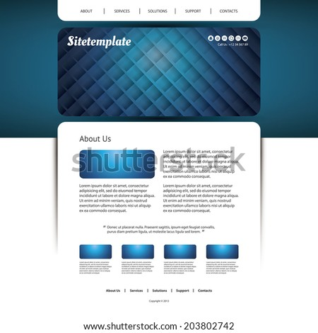 Website Template with Abstract Header Design - Grid Lines Pattern - stock vector