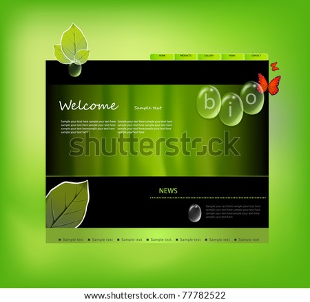 Website template with bio tags, more visit my portfolio - stock vector