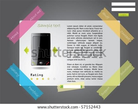 Website template with color tapes - stock vector