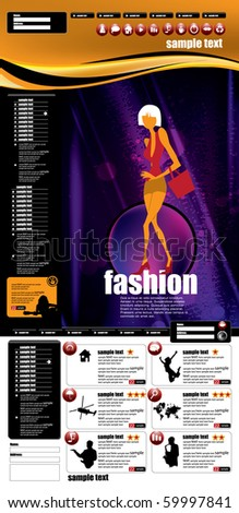 Website template with fashion subject - stock vector