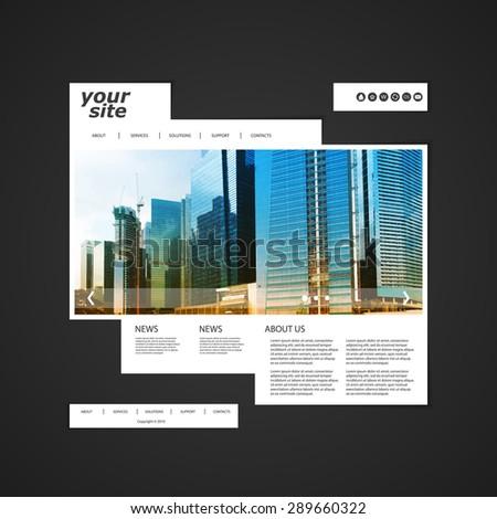 Website Template with Unique Design - Singapore Skyline - stock vector