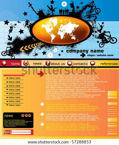 Website template with world map - stock vector