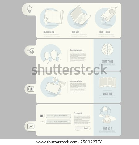 Website templates elements for company portfolio - stock vector
