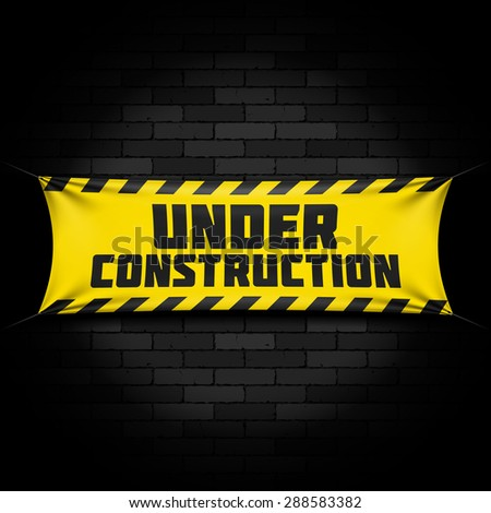 Website under construction banner on black. Vector.