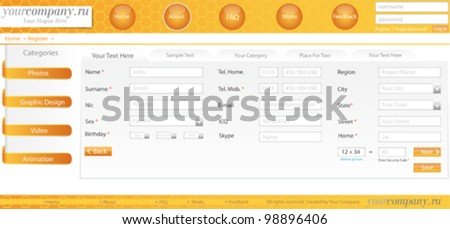Website Vector Template Set - stock vector