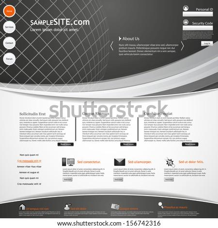 Website Web Design Elements Dark Template  - stock vector