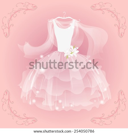 Wedding  airy dress and  airy  shawl - stock vector