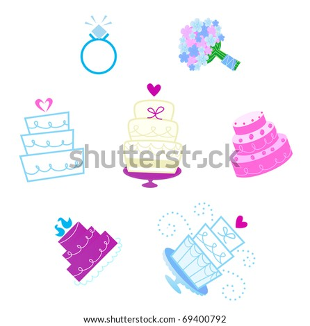 Wedding and Valentine's day desserts and accessories icons. Vector - stock vector