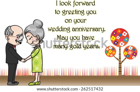Wedding anniversary greeting card vector old stock vector 262517432 wedding anniversary greeting card vector with old people m4hsunfo