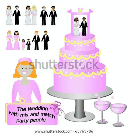 Wedding Attendants/Party people and cake cartoon vectors - stock vector
