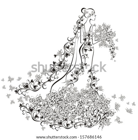 Wedding background - bride in floral dress  - stock vector
