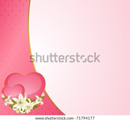 Wedding Background Card Invitation Hearts Flowers Stock Vector