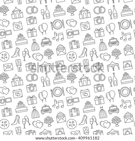 Wedding background. Seamless pattern of wedding object. Cartoon wedding symbols. Outline icons, black and white. - stock vector